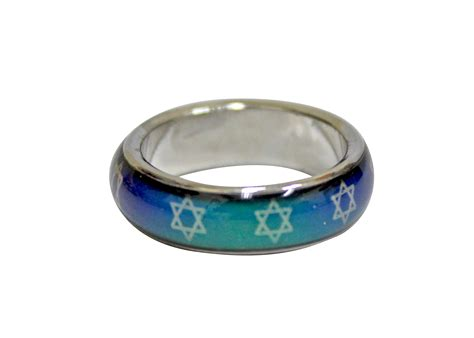 Mood Ring with White Stars of David