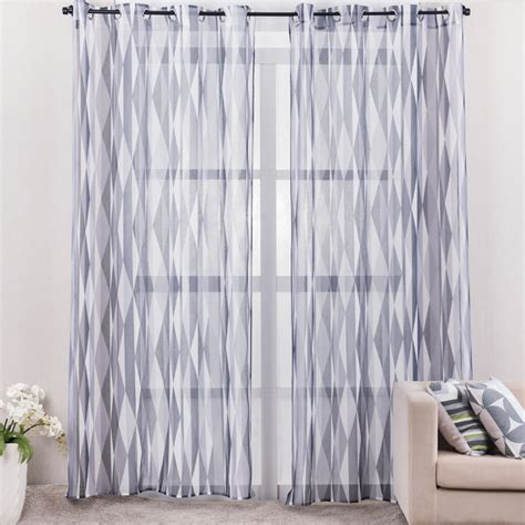 printed grey geometric curtains for living room modern