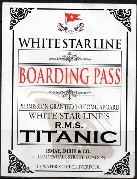 Printable Titanic Boarding Pass Template