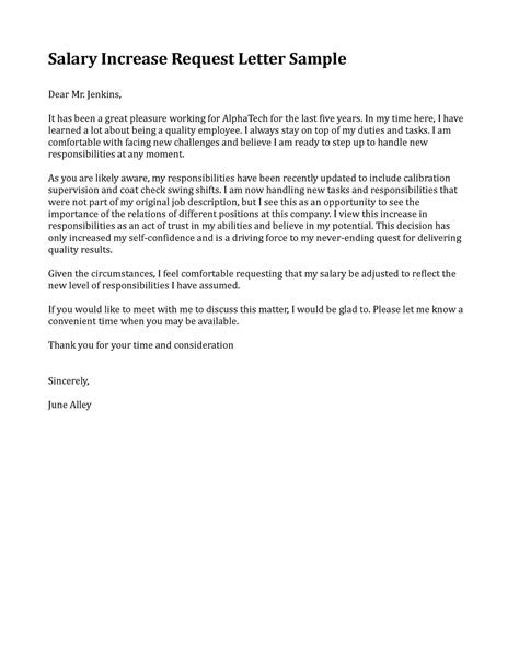 sample letter requesting raise pay sample business