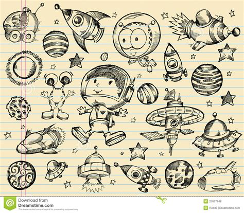 doodle sketch outer space doodle sketch set royalty free stock photos