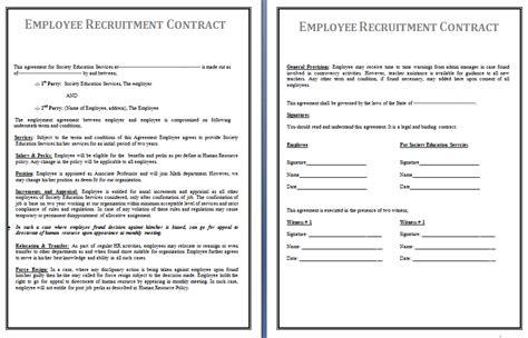 Free Printable Forms Templates Recruitment Contract Template