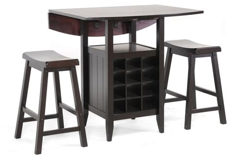 Drop Leaf Bistro Table Black Wood 3 Modern Drop Leaf Pub Set With Wine Rack Transitional Indoor Pub