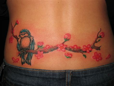 tattoo waist designs sparrow sit on cherry blossom tree on waist