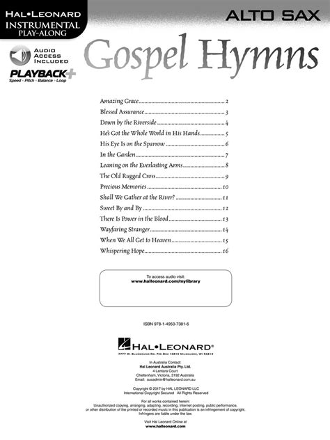 A Place Instrumental Hymns Gospel Hymns For Alto Sax Andy S
