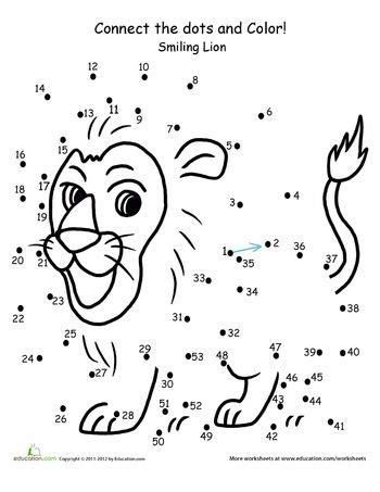 Connect the Dots: Lion | Coloring, For kids and 1st grade