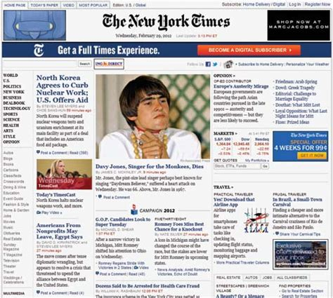 new york times the screenshot of home page
