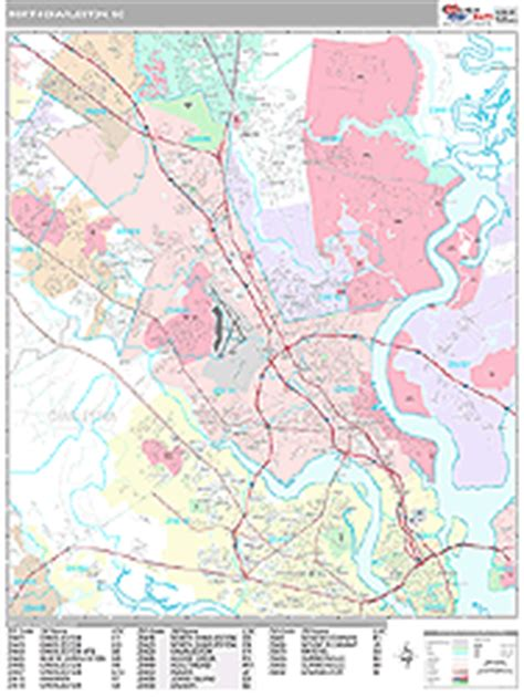 zip code map charleston sc north charleston south carolina zip code wall map premium