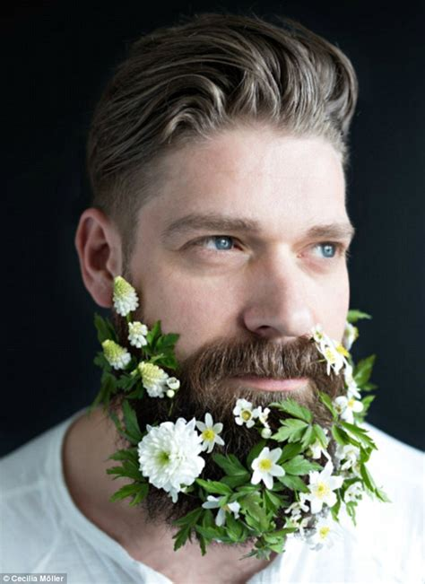 flowers in their men with beards flower beard trend sees hipsters weave foliage into their