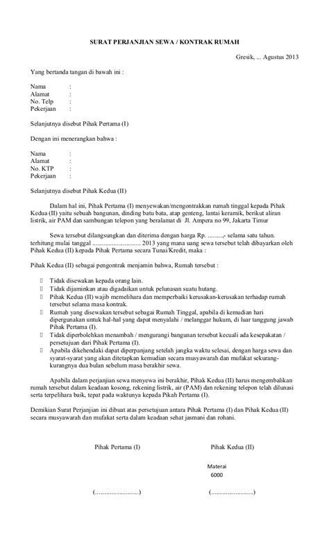 Contoh Surat Kontrak Sewa Rumah
