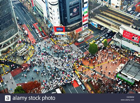 above view of pedestrians at shibuya crossing in tokyo