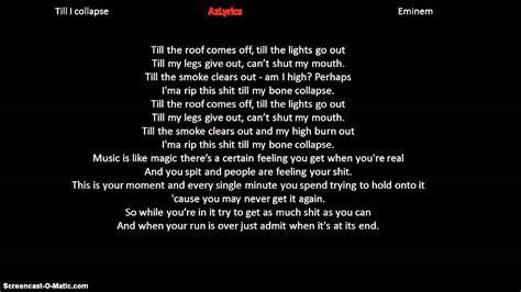 eminem azlyrics eminem till i collapse lyrics youtube