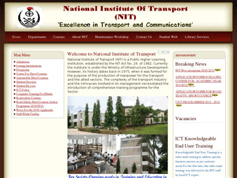 Ac National nit ac tz welcome to national institute of transport