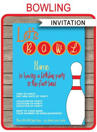 Bowling Card Template by Bowling Invitations Template Birthday