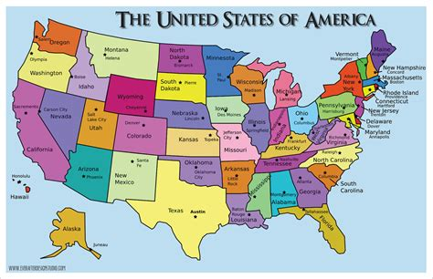 Map Of The United States And Their Capitals | united states of america states capitals know it all