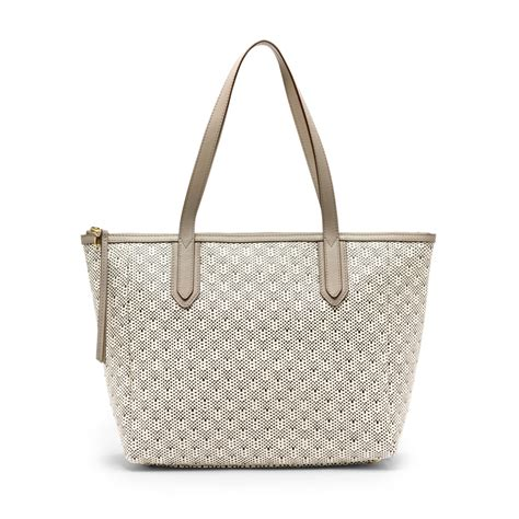 Fossil Sydney Shopper Original Bag Tas Ori Authentic fossil sydney shopper straw light grey bag zb5717050 ebay