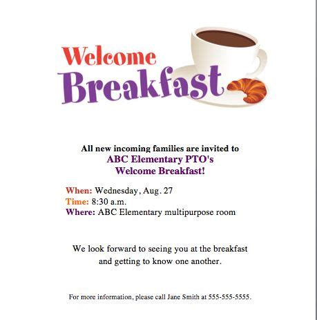 Invitation Letter For Breakfast Meeting Welcome Breakfast Invite Get Families Together To Kick School Year Back To School