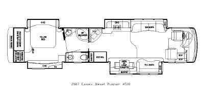 newmar rv floor plans 2007 newmar essex exdp 4510 floorplan
