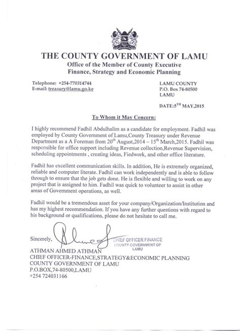 letter to my county treasury recommendation letter 1482