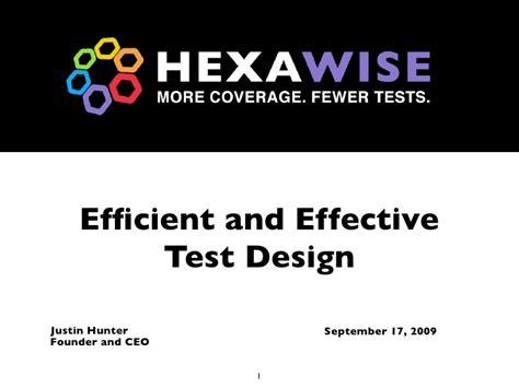 design effectiveness testing efficient and effective test design