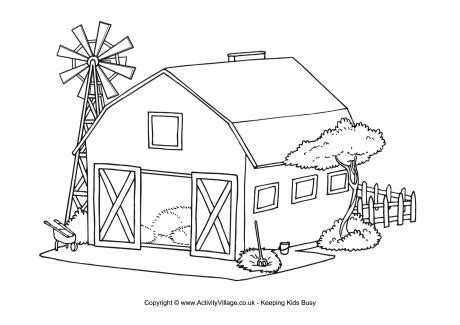 barn colouring page