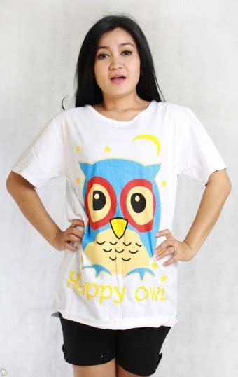 T Shirt Oret Wanita Motif Putih by Store Co Id Baju Wanita Happy Owl Tshirt Putih Allsize