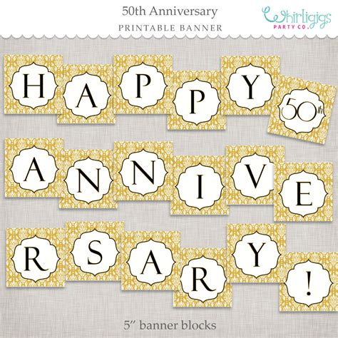 Wedding Anniversary Banner Template by Instant 50th Anniversary Banner Golden Anniversary