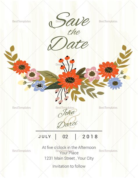 publisher save the date templates summer floral save the date card template in illustrator