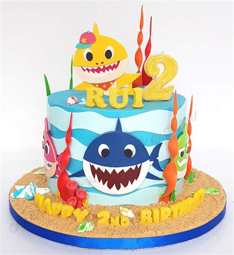 baby shark bday cake celebrate with cake baby shark single tier