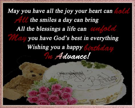 Advance Happy Birthday Wish Birthday Wishes In Advance Greeting Cards