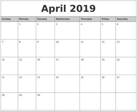 printable monthly calendar 2019 april 2019 monthly calendar printable