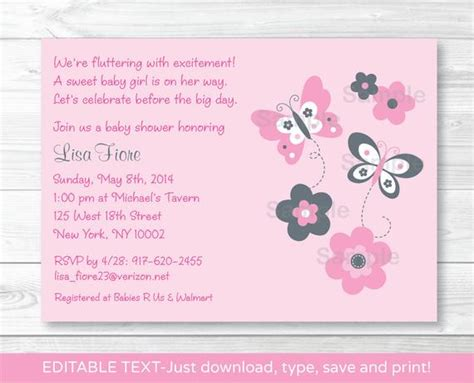 Pink Gray Butterfly Flowers Printable Baby Shower Invitation Editable Pdf Ebay Pdf Invitations Templates