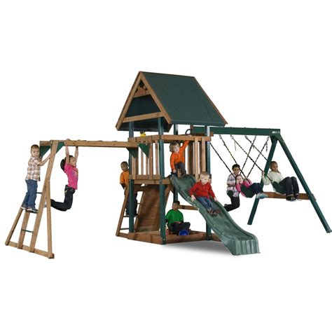 mongoose manor play set with monkey bars sandbox slide