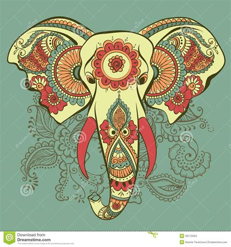 indian elephant henna tattoo vector elephant on the henna indian ornament stock vector
