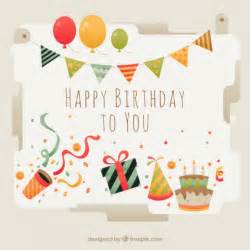beautiful birthday card with elements vector free