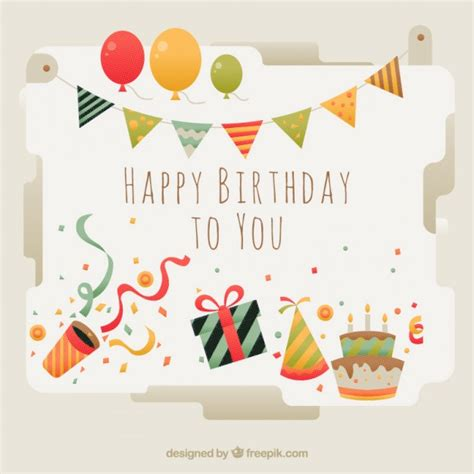 happy birthday card template ilustrator beautiful birthday card with elements vector free