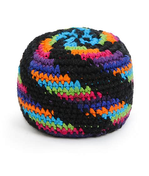 hacky sack guatemalart neon spiral hacky sack