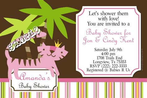 Baby Shower Order Of Events by Jungle Pink Baby Shower Invitations