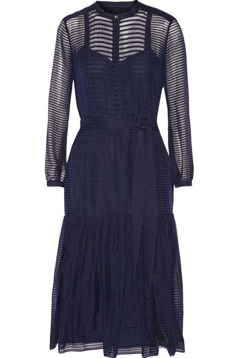 burberry prorsum striped wool and silk blend midi dress in