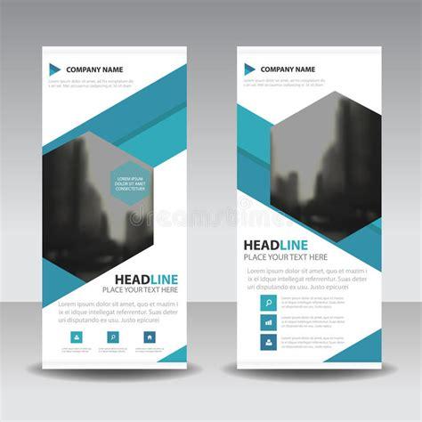 layout x banner blue hexagon roll up business brochure flyer banner design