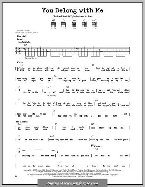 You Belong With Me Taylor Swift Guitar Chords