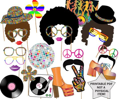 free printable hippie photo booth props 70s party photo booth props disco party props