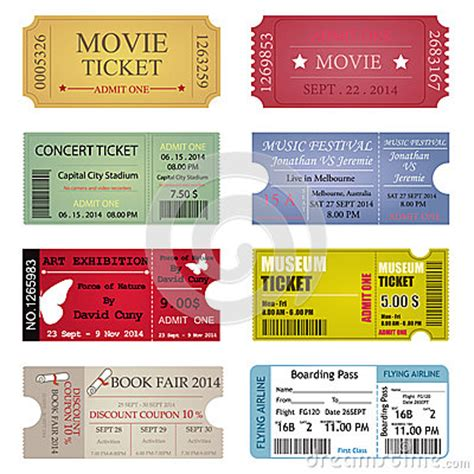 ticket template designs stock vector image: 46086041
