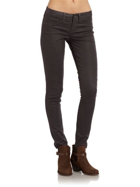 design lab jeans sold design lab soho faux leather skinny leg jeans in gray