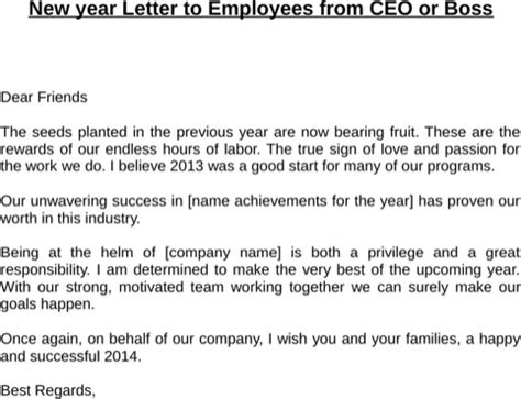 New Financial Year Letter To Employees Happy New Year Message For Excel Pdf And Word