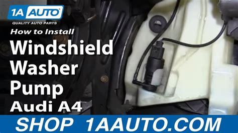 replace windshield washer pump   audi  youtube