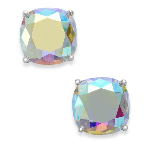 kate spade new york silver tone faceted abalone square