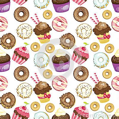 hd cupcake pattern seamless background with different sweets and desserts