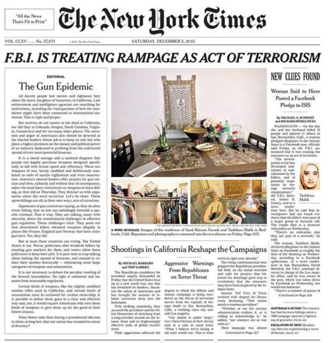 editorial section of newspaper ny times echoes the daily news call on gun control ny