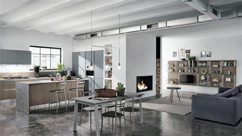 cucina soggiorno moderno salotto moderno con parquet e cucina a vista interior